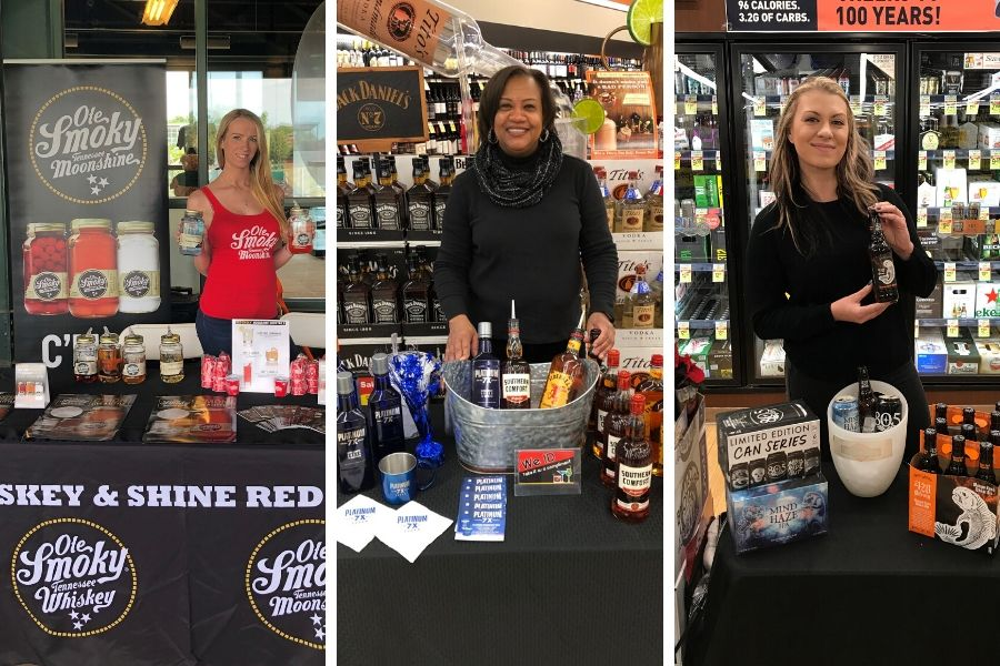 Spokesmodels or brand ambassadors for off-premise liquor store tastings and sampling events usually wear all-black clothing and a branded t-shirt.