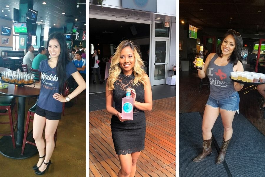 Spokesmodels or brand ambassadors for on-premise promotions and sampling events usually supply their own dress or bottoms, and wear a branded shirt.